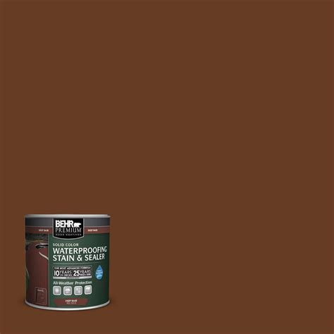 behr premium 8 oz sc110 chestnut solid color waterproofing stain and sealer sle 501316
