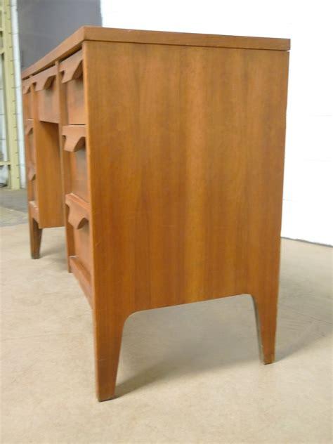 walnut pedestal desk laminate top vintage eames era