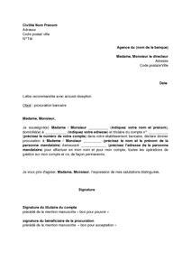 Exemple De Lettre De Procuration De Compte Bancaire Lettre De Procuration Permanente Pour La Gestion D Un