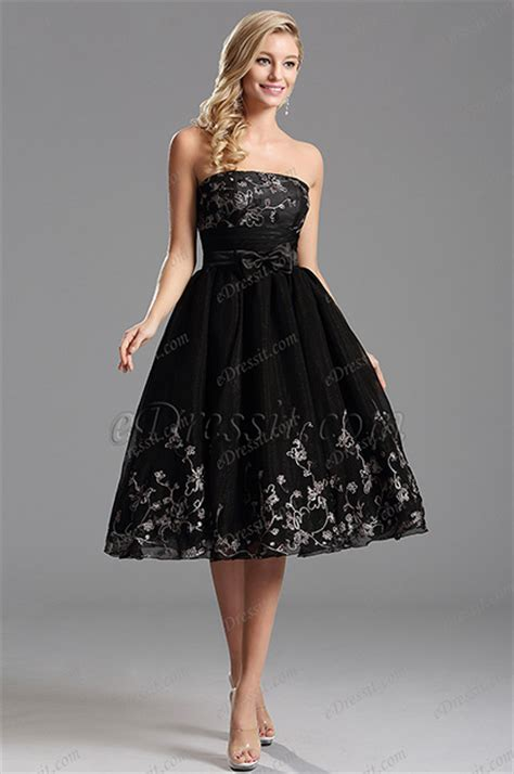 lovely black tea length cocktail dress party dress