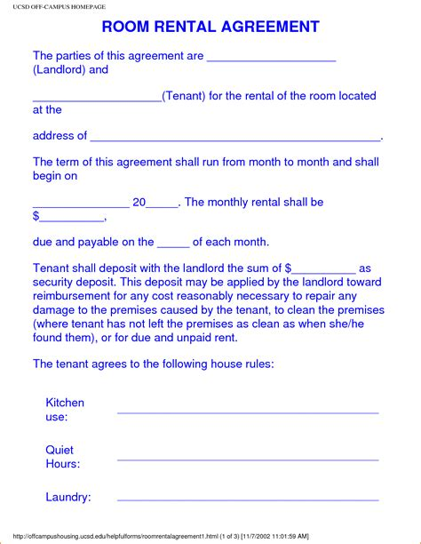 Letter Of Agreement To Rent A Room 28 room agreement template doc 12751650 doc12751650