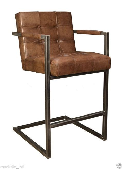 brown iron bar stool with arm and grey leather back and seat cover of modern design of tall bar bar stool leather iron tufted arm chair buffalo new