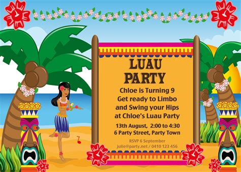 printable invitations hawaiian party hawaiian luau party with desert table and games chic