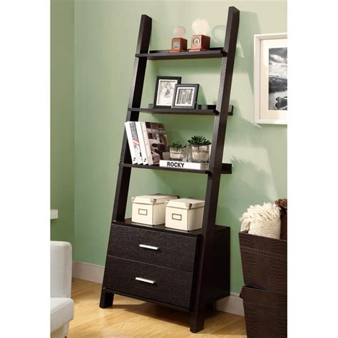 ladder style bookcase dulcet ladder style bookcase 2 drawers cappuccino dcg