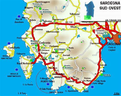porto pino mappa lni sulcis porto pino cartina della sardegna sud ovest
