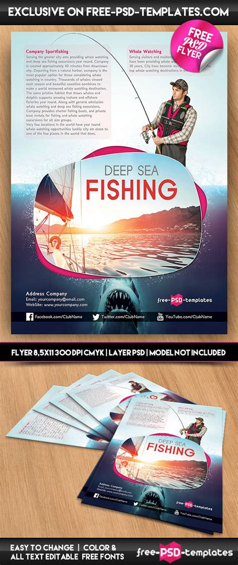 Fishing Templates by Sea Fishing Free Psd Flyer Template In Psd Free