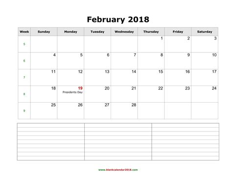 2018 February Calendar Blank Calendar For February 2018