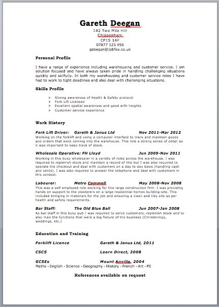 Exle Of A Cv by Uk Resume Format Free Excel Templates