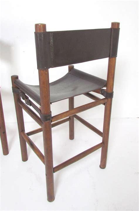 sling bar stools set of four safari style leather sling bar stools circa