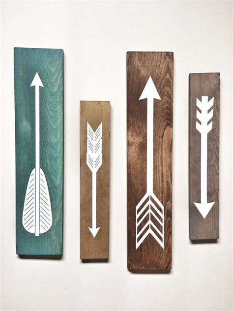 wood decor rustic white wooden arrows 4 set rustic decor