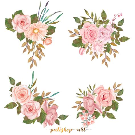 A15 Flowers watercolor flower clipart blush gold leaves clipart