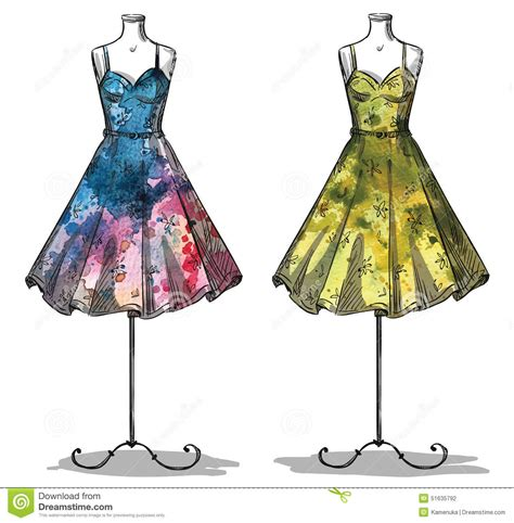 fashion illustration vector dummies with dresses fashion illustration stock vector