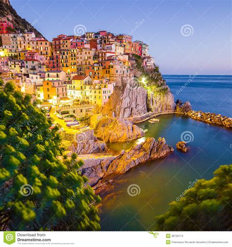 scenic town sunset in manarola cinque terre italy stock images image 38733174