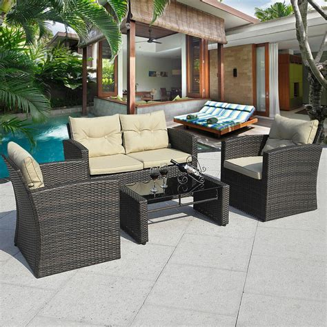 pcs gradient brown wicker cushioned patio set garden sofa furniture rattan  ebay