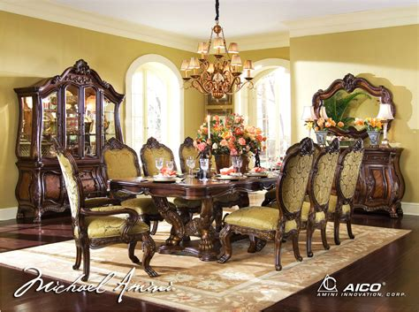 Michael Amini Dining Room Set Michael Amini Chateau Beauvais Formal Dining Room Set Noble Bark Aico
