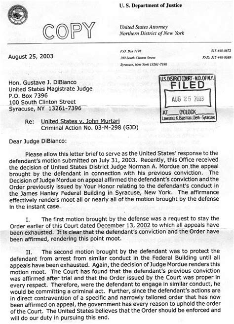 Appeal Letter To Judge Federal Trial For Petitioning Senator Clinton For Reform