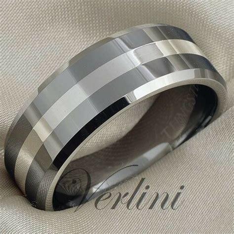 tungsten ring mm mens wedding band silver inlay titanium