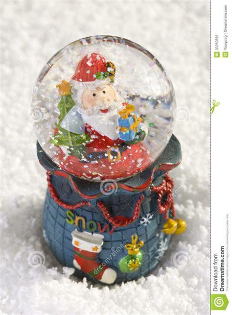 santa ckaus with snow decoration snow globe with santa claus royalty free stock photo image 33269555