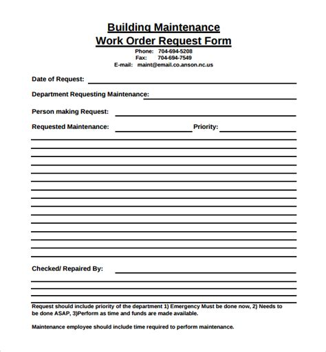 work order maintenance request form template sle maintenance work order form 6 free documents in pdf