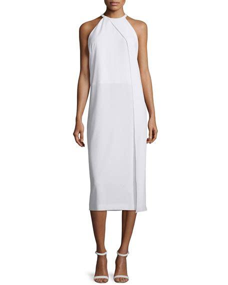 draped crepe dress dkny sleeveless draped crepe midi dress white