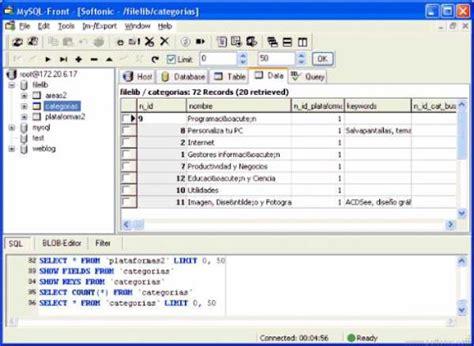 tutorial de mysql en xp mysql front download