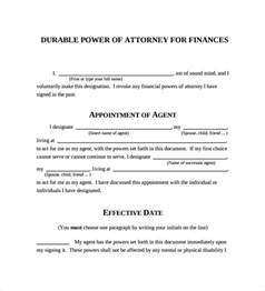 durable power of attorney template free durable power of attorney forms 7 free sles