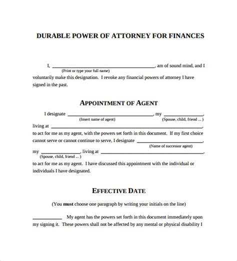 8 Durable Power Of Attorney Forms Sles Exles Formats Sle Templates Simple Power Of Attorney Form Template