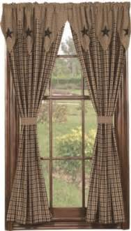Primitive Country Curtains Barn Layered Window 63 Quot Panels Primitive Country Curtain Black