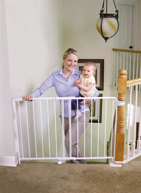 Baby Gate For Bottom Of Stairs With Banister Amazon Com Regalo Top Of Stairs Expandable Metal Gate