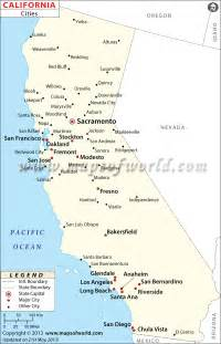 california map cities map of california cities free large images
