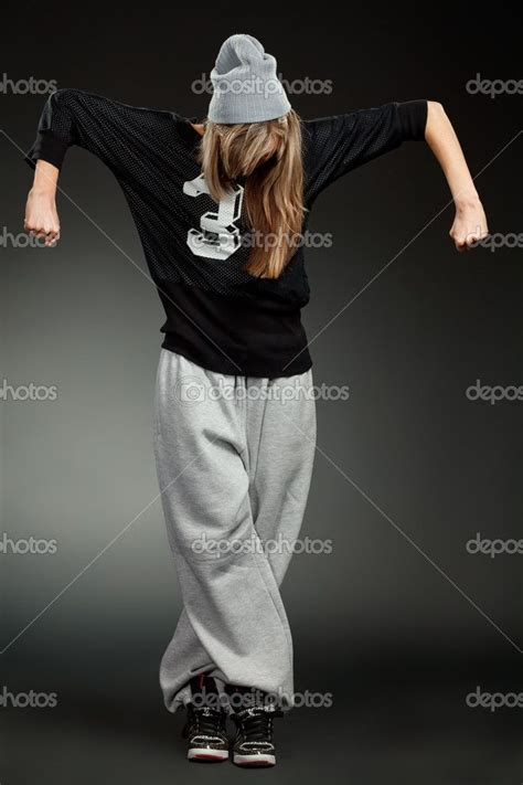 hip hop clothes  girls stylish hip hop girl stock