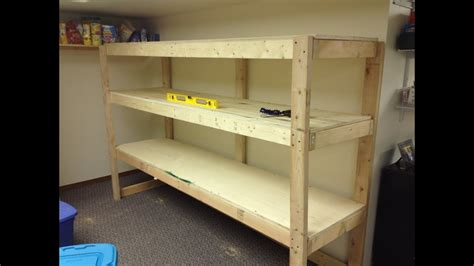 building  wooden storage shelf   basement youtube