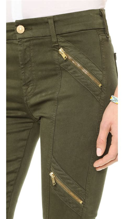 081111 Pant Oliv Zipper lyst 7 for all mankind panel zip moto olive sateen in green