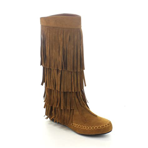 new womens moccasin 3 layer fringe knee high low