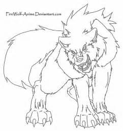 wolf lineart firewolf anime deviantart