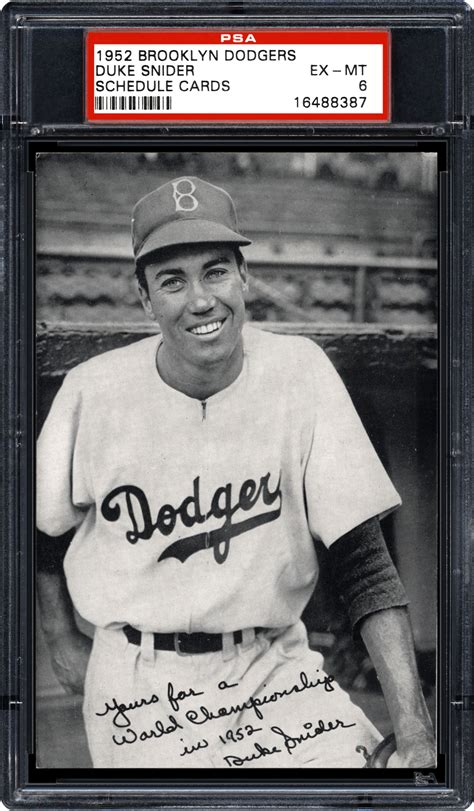 Dodgers Gift Card - baseball cards 1952 brooklyn dodgers schedule cards psa cardfacts