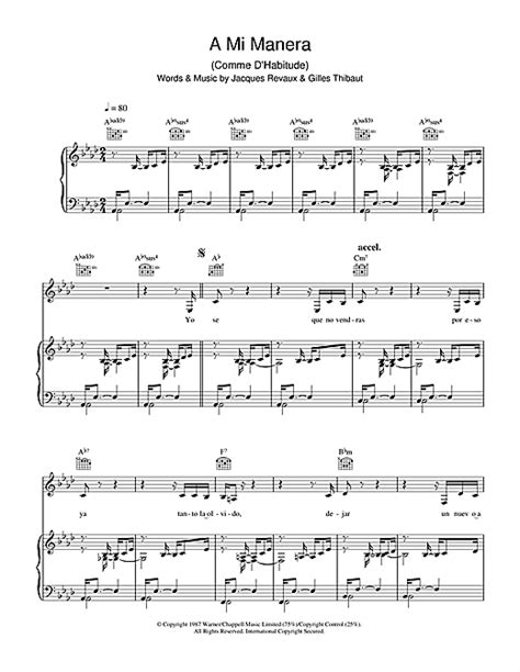a mi manera a mi manera comme d habitude sheet music by gipsy kings piano vocal guitar 37594