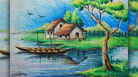 how to draw a boat with oil pastels landscape color drawing with oil pastels at getdrawings