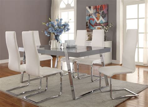 high gloss grey dining room set 106011 coaster