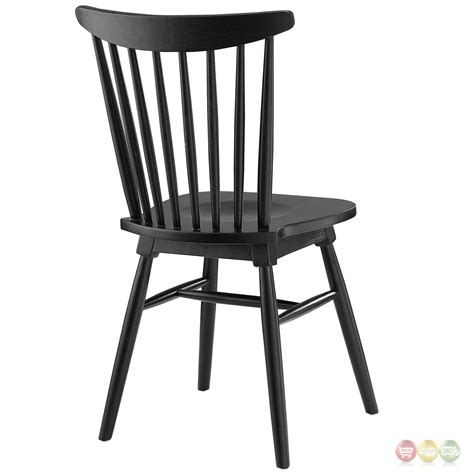 Black Wooden Dining Chairs Amble Modern Country Inspired Spindled Wood Dining Side Chair Black