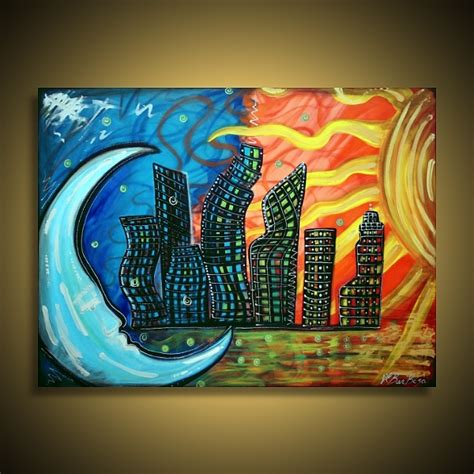 cool painting ideas celestial city skyscrapers building and window