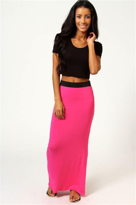 Savanabergo Pad Maxi Jersey Xl helena contrast waistband jersey maxi skirt pink pink shopping s fashion