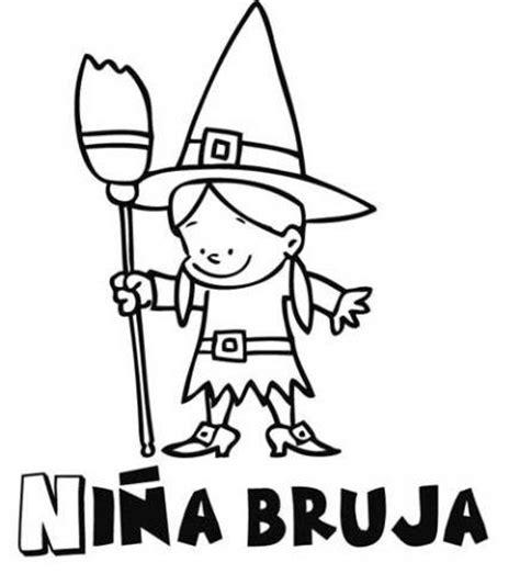 imagenes de brujas faciles para dibujar dibujo infantil de ni 241 a bruja para colorear