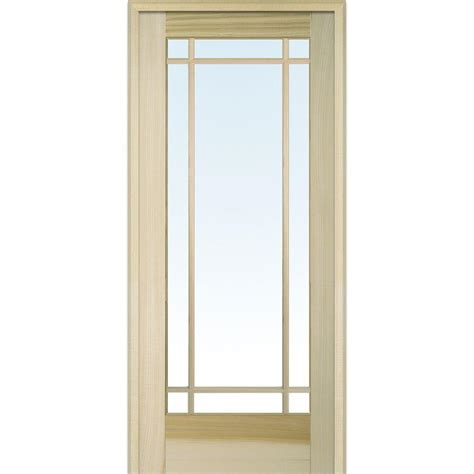 interior glass doors home depot mmi door 33 5 in x 81 75 in classic clear glass 9 lite unfinished poplar wood interior