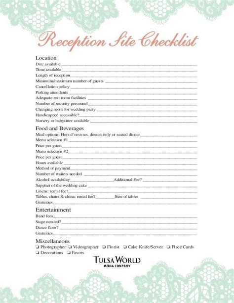 Wedding Reception Checklist Pdf by Reception Checklist Worksheet Tulsaworld