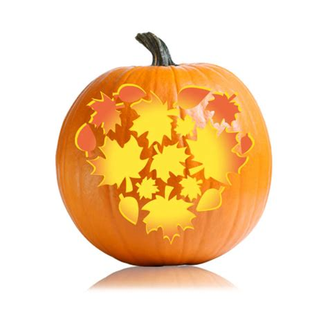 leaf pattern pumpkin carving thanksgiving fall heart pumpkin stencil