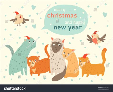 new year animal rotation happy happy new year card stock vector 339561827