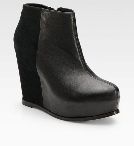 dolce vita heidi leather suede wedge ankle boots in black