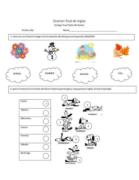 preguntas abiertas en pasado simple en ingles examen de ingles para primero de primaria dias de la