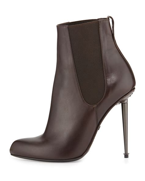 tom ford metal heel leather ankle boots in brown